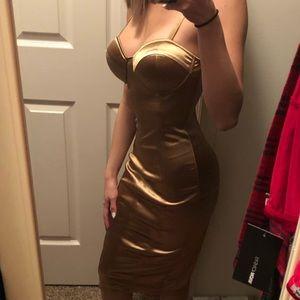 Midi Gold Fashion Nova Dress